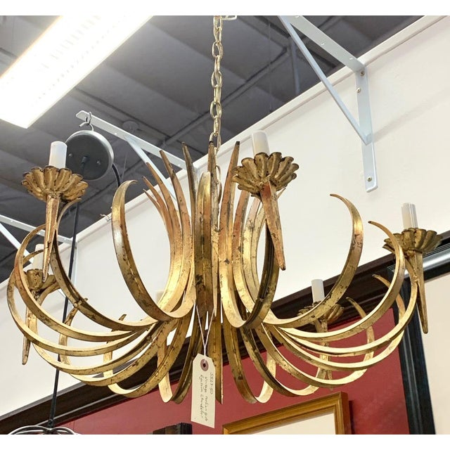 Vintage Grass Blade Gold Mid Century Italian Gilt Chandelier For Sale - Image 10 of 11