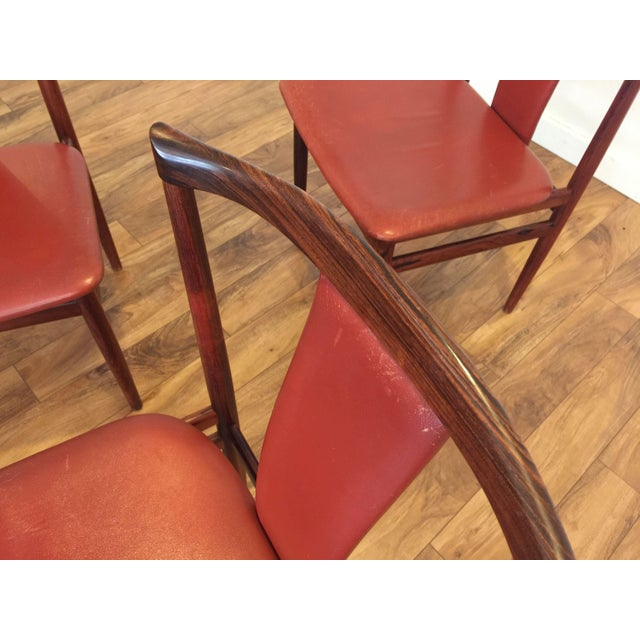 Henning Sorensen Rosewood & Leather Dining Chairs - Set of 4 - Image 10 of 11