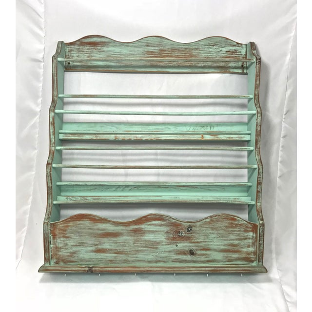 Shabby Chic-Style Wall Plate Rack For Sale - Image 9 of 9
