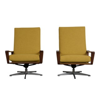 Set of Two Danish Modern Recliner Swivel Chairs For Sale