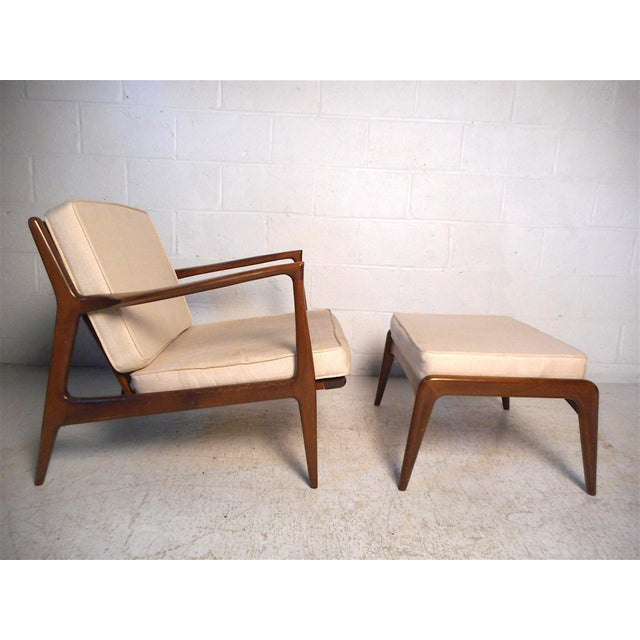 Mid-Century Modern Danish Modern Lounge Chairs and Ottoman by Kofod-Larsen For Sale - Image 3 of 13