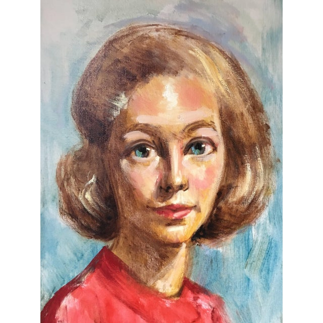 Canvas 1950s Mid Century Modern Female Portrait Painting Vintage For Sale - Image 7 of 11
