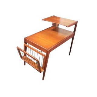 Mid-Century Modern Teak Kurt Ostervig Lamp End Side Table Magazine Rack For Sale