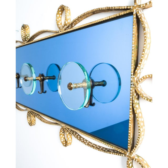 Blue Pierluigi Colli Coatrack Wall Wardrobe Iron Blue Glass Mirror, Italy 1950 For Sale - Image 8 of 10