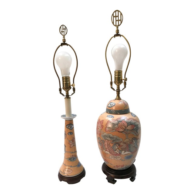 1980s Asian Ginger Jar and Desk Lamps - 2 Pieces For Sale