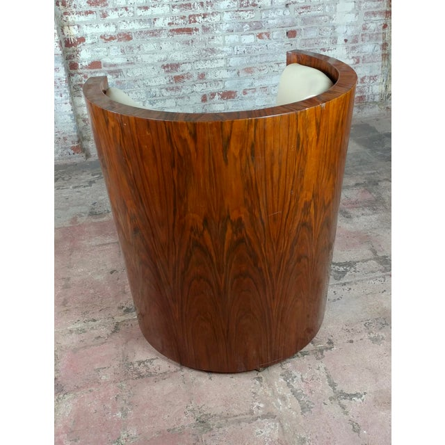 Wood Art Deco Fabulous Burl Walnut Barrel Chairs W/White Leather Seats-A Pair For Sale - Image 7 of 10