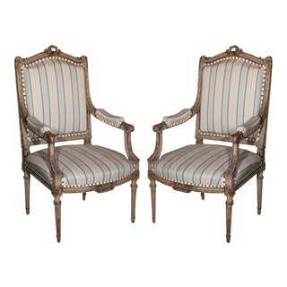Louis XVI Style Fauteuils by Maison Jansen - A Pair For Sale