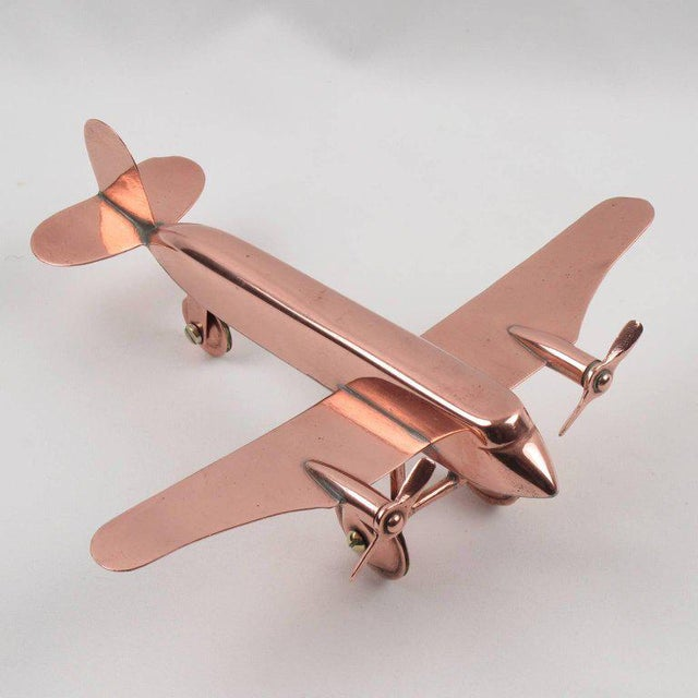 Mid-Century Modern Copper Airplane Model - Image 10 of 11
