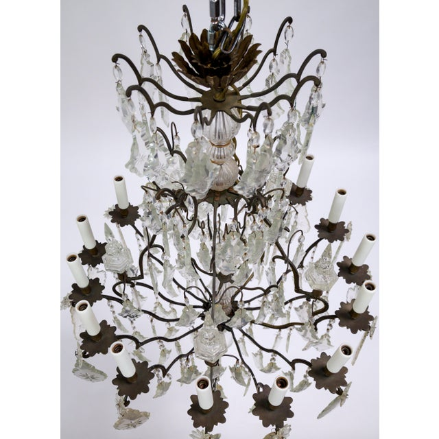 Early 20th Century Early 20th Century Multi Crystal 15-Arm Birdcage Chandelier For Sale - Image 5 of 13