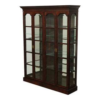 Quality Large Beveled Glass Mahogany 4 Door Display Curio Cabinet For Sale