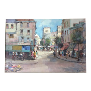 Cityscape Street Scene Signed Theodore Van Oorschot Painting For Sale