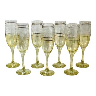 Vintage Yellow / Clear Glass Gold Rim Etched Floral Arches Champagne Glasses - Set of 7 For Sale