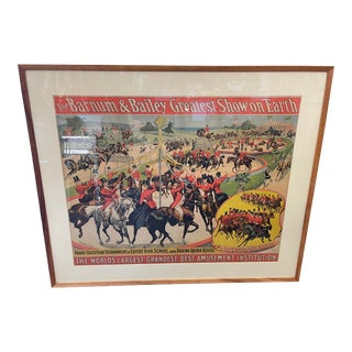 Antique Barnum & Bailey Circus Poster 1898 Framed Greatest Show on Earth For Sale