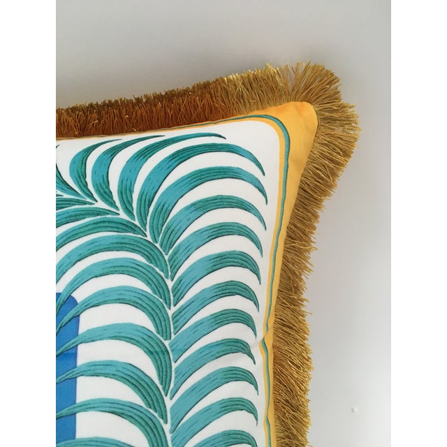 Asian Tiger and Palm Leaf Pillow Cover For Sale - Image 3 of 4