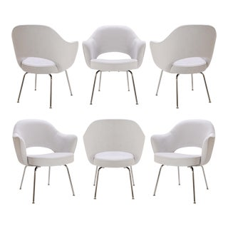 Saarinen Executive Arm Chairs in Dove Luxe Suede - Set of 6