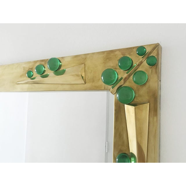 Metal Fabio Ltd Verde Green Murano Glass Inserts Brass Mirror For Sale - Image 7 of 10