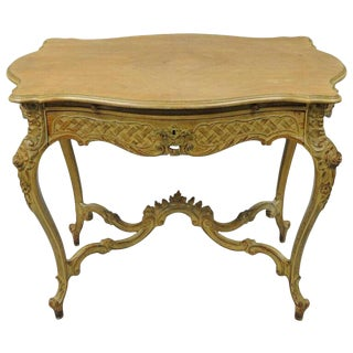 French Rococo Louis XV Distress Paint Dressing Table Vanity Ladies Writing Desk For Sale