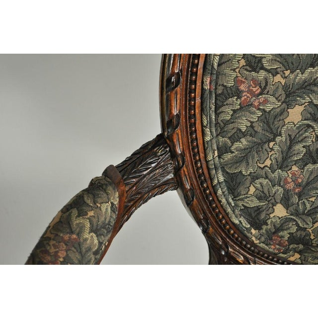 Vintage French Louis XVI Style Carved Walnut Fireside Arm Chair Fauteuil For Sale - Image 10 of 11