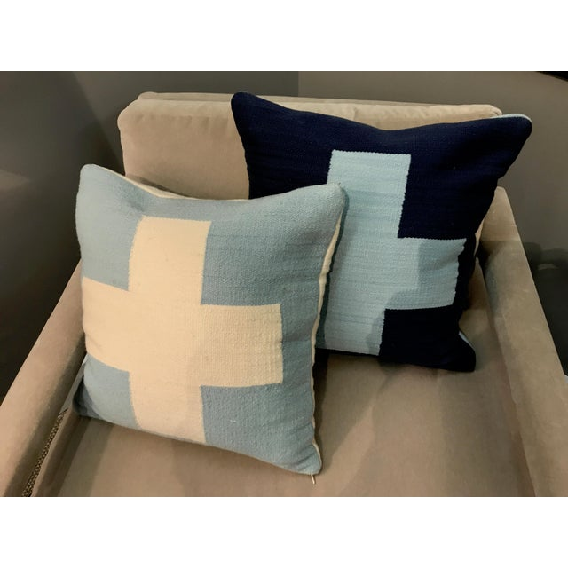 Contemporary Jonathan Adler Reversible Light Blue Cross Pop Wool Throw Pillows - a Pair For Sale - Image 3 of 5