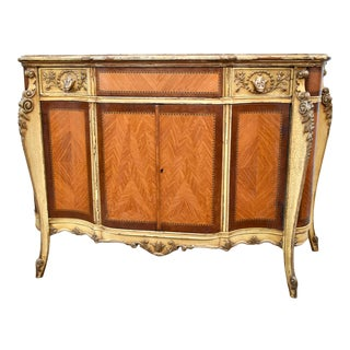 Antique Shaped Carved, Inlaid, and Painted French Style Accent Chest For Sale