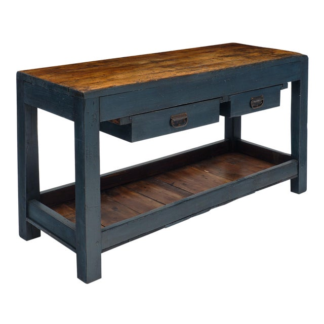 Antique Italian Blue Painted Work Table For Sale