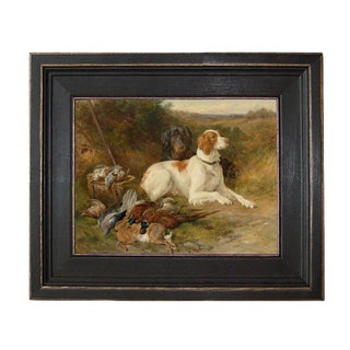 Folk Art Oil Painting Reproduction on Canvas of Hunting Dogs in Distressed Black Solid Ash Frame For Sale