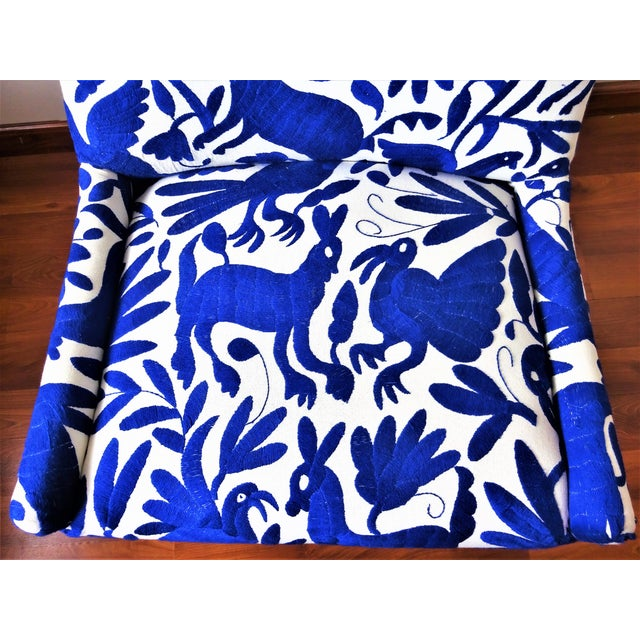 Mid-Century Bohemian Cobalt Blue Otomi Hand Embroidered Lounge Chair For Sale - Image 10 of 11