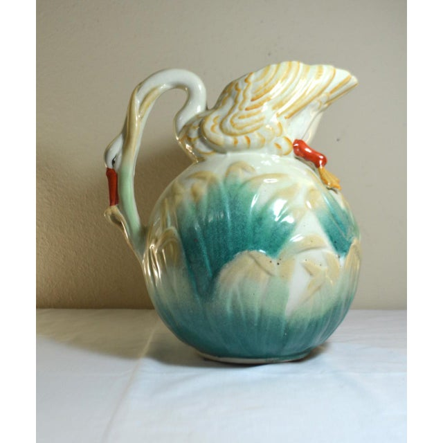 Mediterranean Vintage Large Majolica Swan Shaped Pitcher For Sale - Image 3 of 11