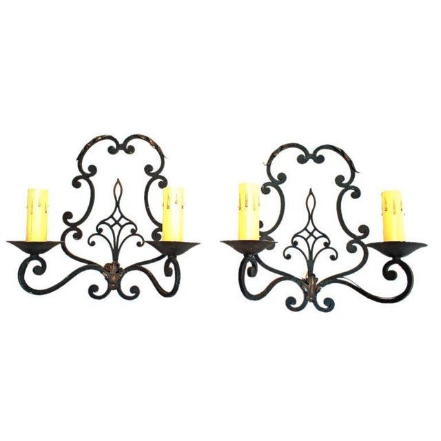French French 1930 Wrought Iron Sconces - a Pair For Sale - Image 3 of 3