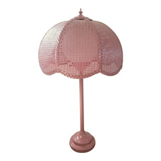 1960s Statuesque Pink Wicker Table Lamp For Sale