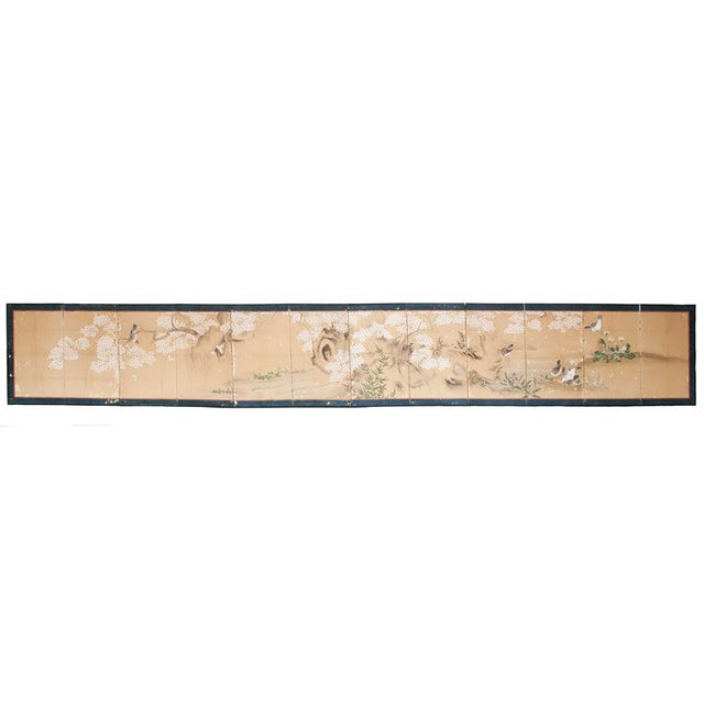 Extremely rare and exquisite 17th c. or 18th c. Japanese 12-Panel Byobu. The piece depicts a lovely and peaceful scene of...
