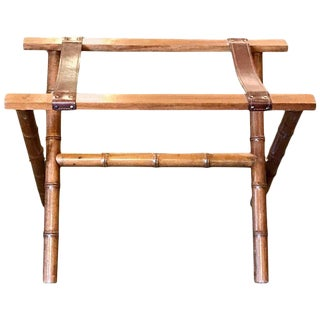 1960s Boho Chic Faux Bamboo and Leather Luggage Rack For Sale