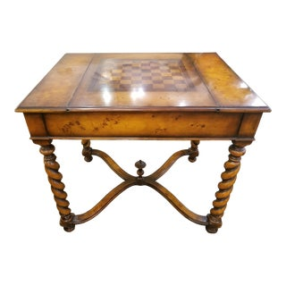 Traditional Style Game Table With Burlwood Finish For Sale