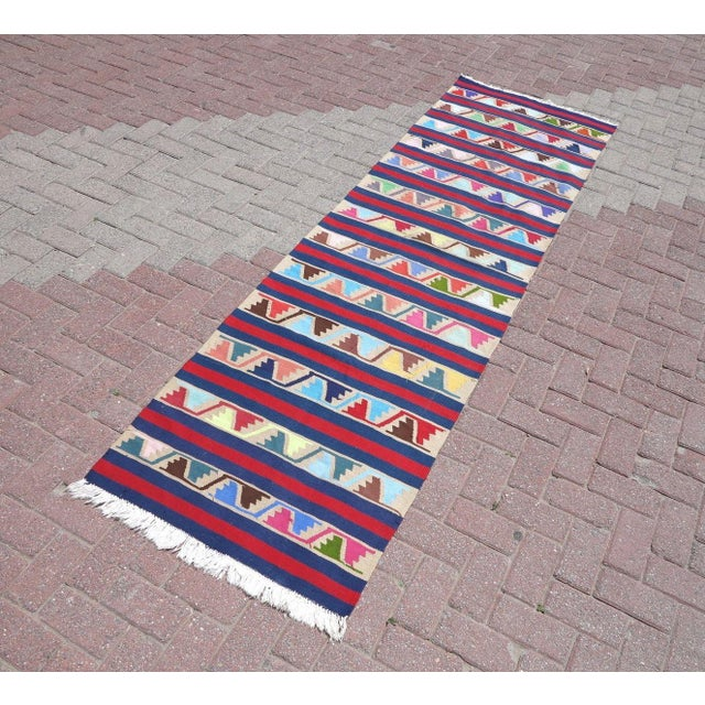 Boho Chic Vintage Turkish Kilim Runner Rug For Sale - Image 3 of 10