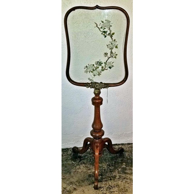 19c Telescopic or Extendable Tripod Based Fire Screen - Walnut With Hand Painted Glass For Sale - Image 11 of 13