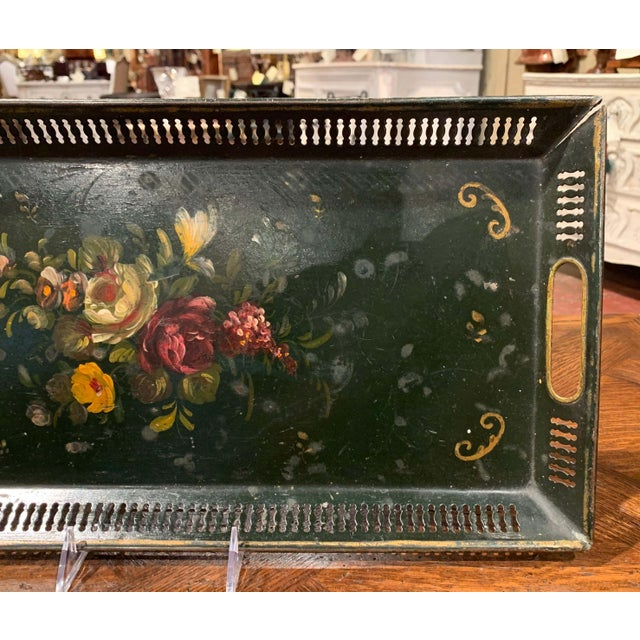 19th Century French Hand Painted Rectangular Gallery Tole Tray For Sale In Dallas - Image 6 of 9