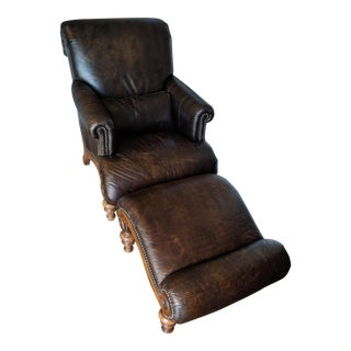 Drexel Heritage Hathaway Leather Chair With Ottoman For Sale