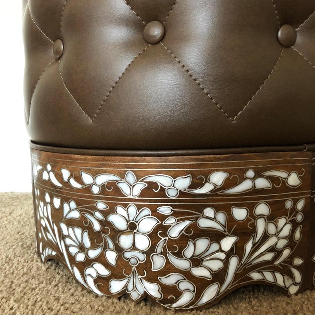 Contemporary Contemporary Mother of Pearl Inlay Stool For Sale - Image 3 of 4