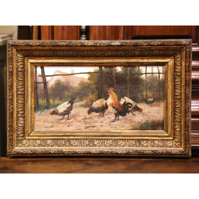 Mid-19th Century French Oil on Board Chicken Painting in Carved Gilt Frame For Sale - Image 10 of 10