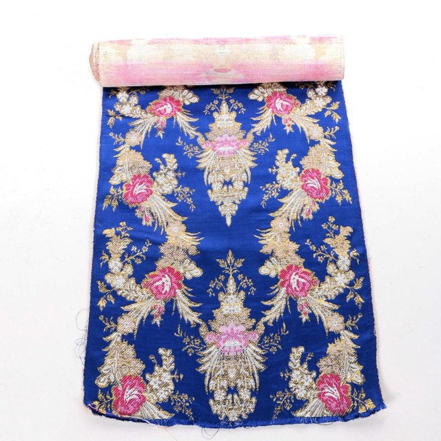 Fabric Gold Embroidered Floral Silk Brocade Textile For Sale - Image 7 of 7
