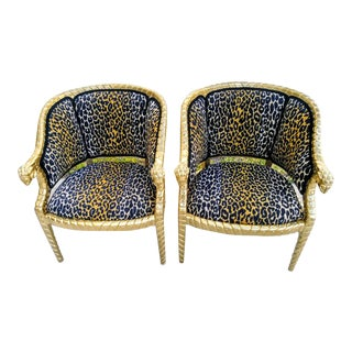 A Custom Pair Vintage Bergere Ram Head Leopard Gold Gilt Barrel Back Side Chairs For Sale