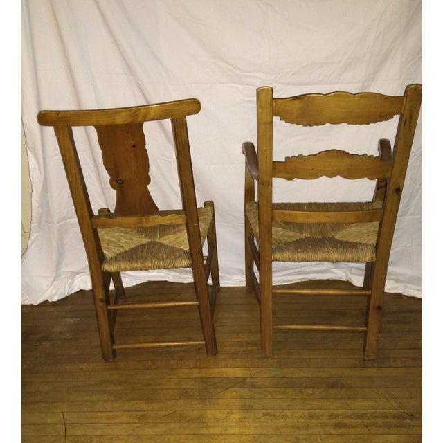 1970s French Country Hand Carved Rush Seat Chairs - Set of 4 For Sale - Image 4 of 13