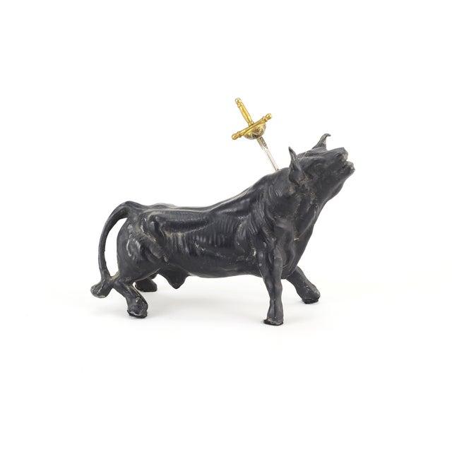 Vintage Cast Iron Spanish Bull Toothpick Holder - Image 2 of 4