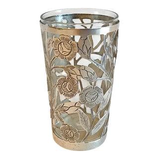Vintage Sterling Silver Encased Glass With Pierced Floral Design For Sale