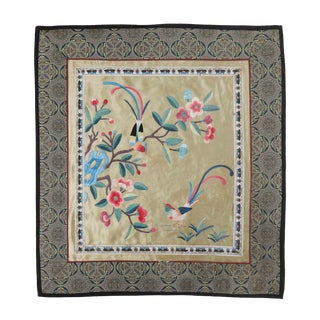 Vintage Asian Antique Silk Embroidery Cloth With Tropical Birds and Gold Backdrop For Sale