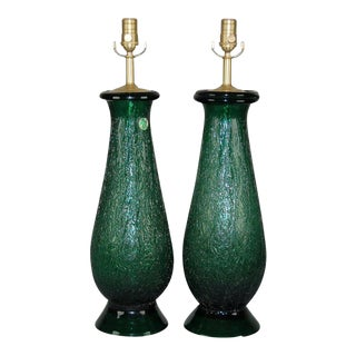 Vintage Murano Glass Table Lamps Green For Sale