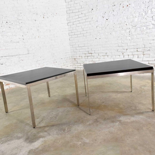 Mid 20th Century Pair Vintage Large Modern Square End Tables in Stainless Steel With Black Laminate Tops For Sale - Image 5 of 13