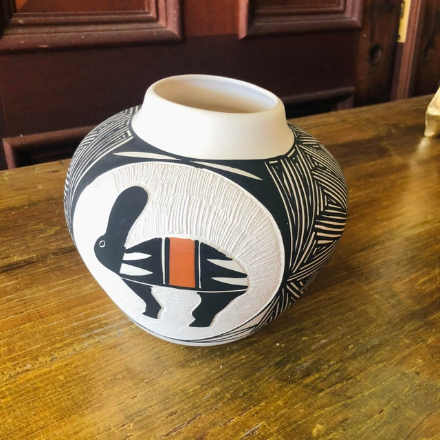 "Vintage Acoma Hare Pot Native American Indian Pottery by Debra Waconda Measurements 6""H x 7""W x 7""D"