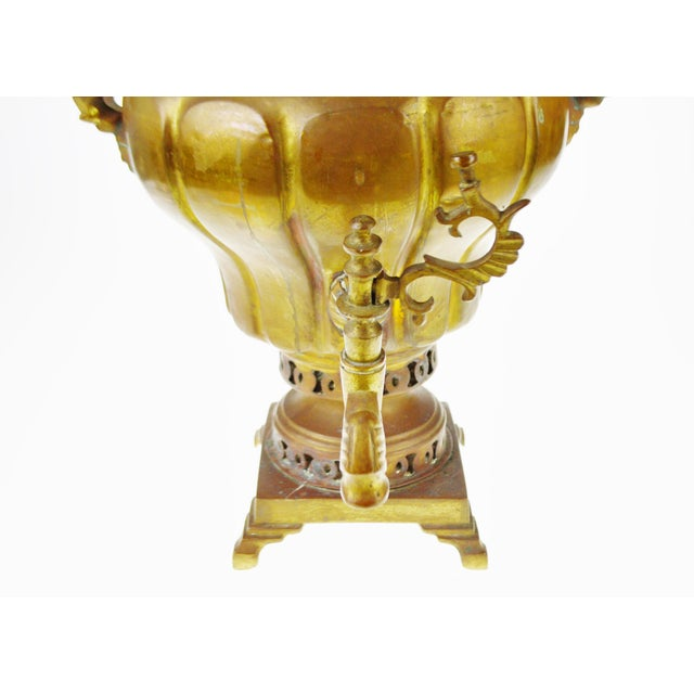 Early Brass Pear Shaped Russian Samovar Marked For Sale - Image 4 of 11