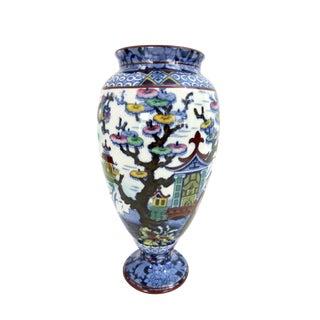 Vintage Blue & White Chinoiserie Porcelain Transfer Ware Vase For Sale